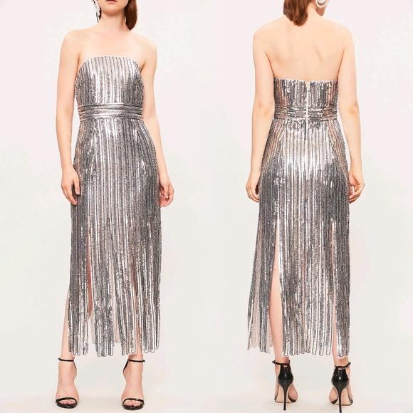 9ade602c Topshop Dresses | Sequin Fringe Bandeau Dress | Poshmark